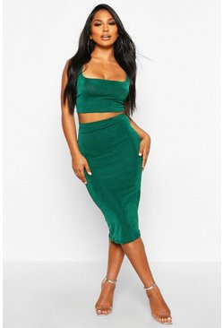Womens Jade Textured Slinky Square Neck Midi Co-Ord
