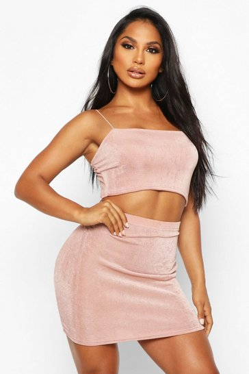 Womens Dusty rose Textured Slinky Square Neck Co-Ord