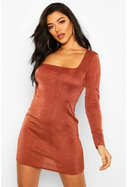 Slinky Square Neck Long Sleeve Mini Dress, Chocolate
