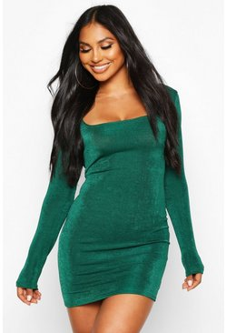 Slinky Square Neck Long Sleeve Mini Dress, Jade, Donna