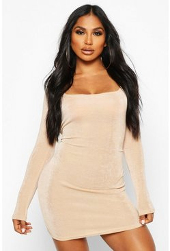Slinky Square Neck Long Sleeve Mini Dress, Nude, Donna