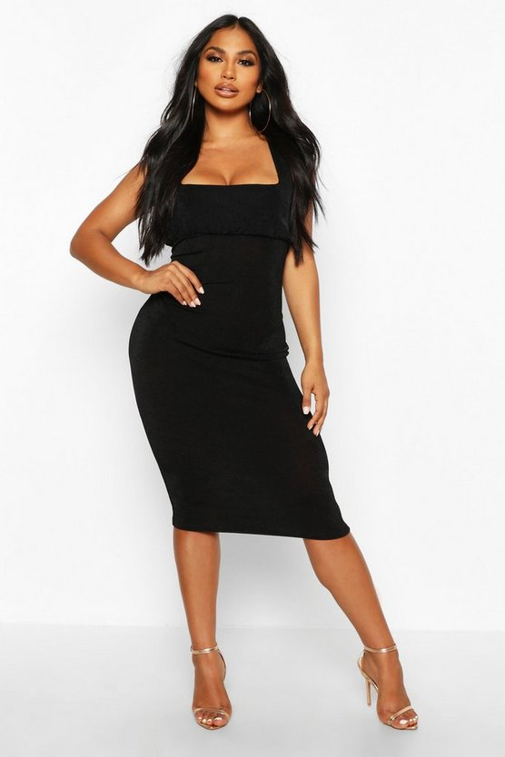 Black Textured Slinky Rouche Bust Midi Dress
