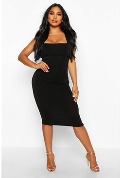 Womens Black Textured Slinky Rouche Bust Midi Dress