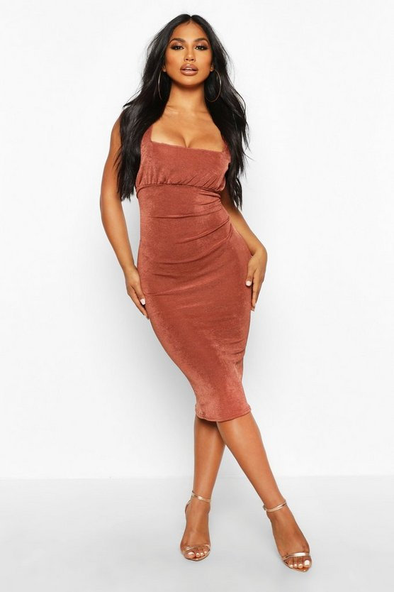 Womens Chocolate Textured Slinky Rouche Bust Midi Dress