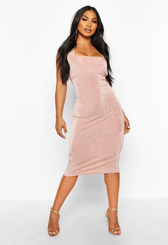 Womens Dusty rose Textured Slinky Rouche Bust Midi Dress