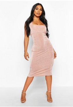Dusty rose Textured Slinky Rouche Bust Midi Dress