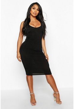 Black Textured Slinky Plunge Midi Dress