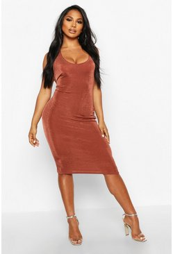 Chocolate Textured Slinky Plunge Midi Dress