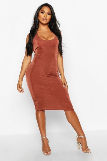 Womens Chocolate Textured Slinky Plunge Midi Dress