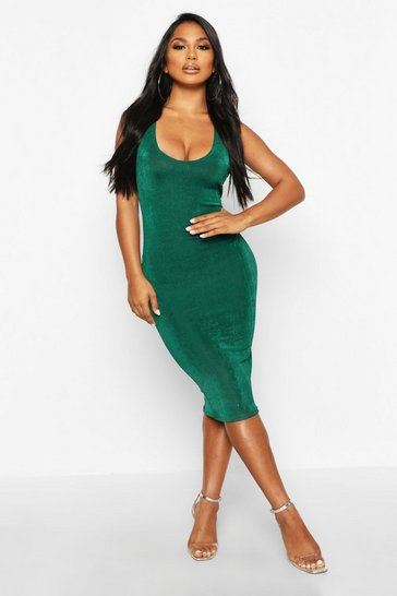 Womens Jade Textured Slinky Plunge Midi Dress