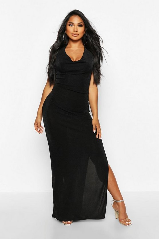 Black Textured Slinky Cowl Neck Midaxi Dress