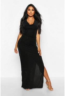 Womens Black Textured Slinky Cowl Neck Midaxi Dress