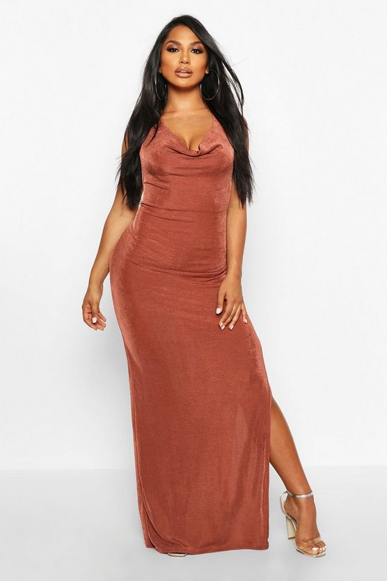 Chocolate Textured Slinky Cowl Neck Midaxi Dress