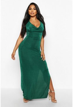 Womens Jade Textured Slinky Cowl Neck Midaxi Dress