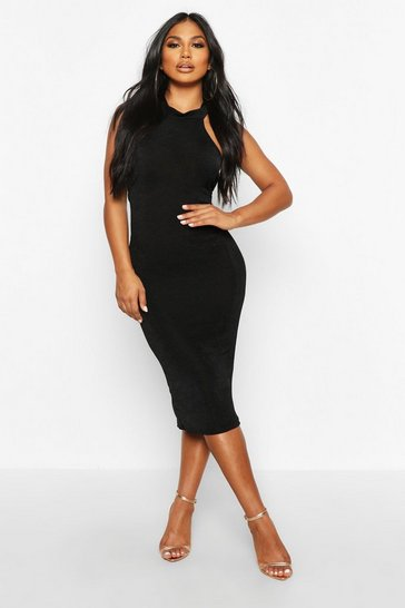 Black Textured Slinky High Neck Midi Dress