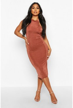 Womens Chocolate Textured Slinky High Neck Midi Dress