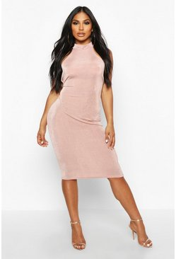 Womens Desert rose Textured Slinky High Neck Midi Dress