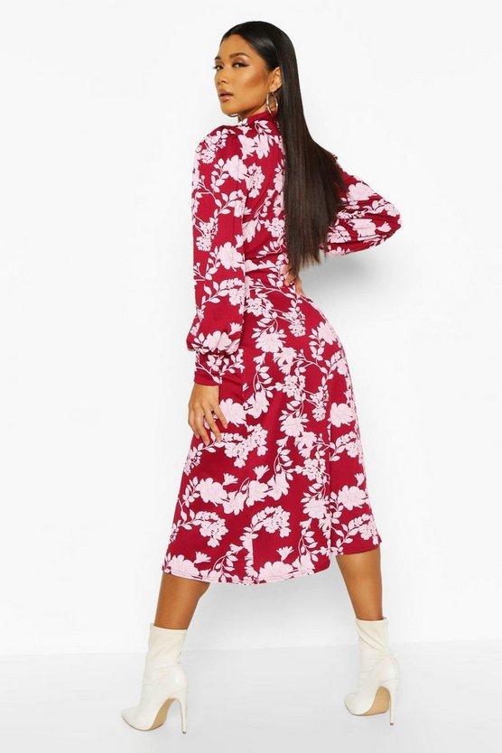 Floral Print Blouson Sleeve Midi Skater Dress