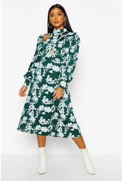 Green Floral Print Blouson Sleeve Midi Skater Dress