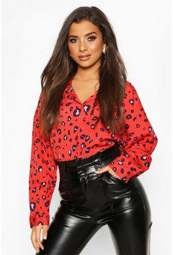 Womens Red Woven Animal Print Shirt