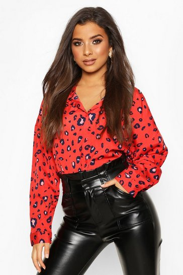 Red Woven Animal Print Shirt
