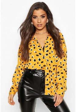 Womens Mustard Woven Animal Print Shirt