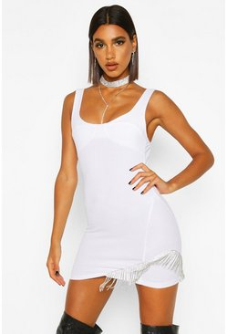 White Diamante Trim Bodycon Dress