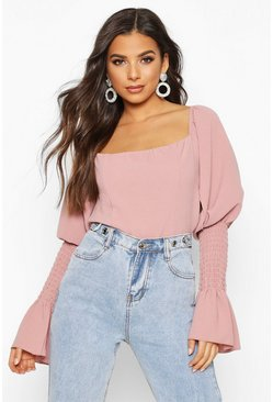 Rose Shirred Sleeve Ruffle Peasant Top