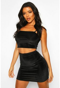 Womens Black Velvet Rib Strappy Top And Mini Skirt Co-Ord