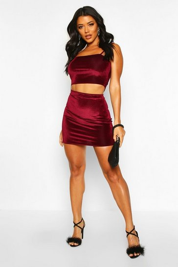 Womens Wine Velvet Rib Strappy Top And Mini Skirt Co-Ord