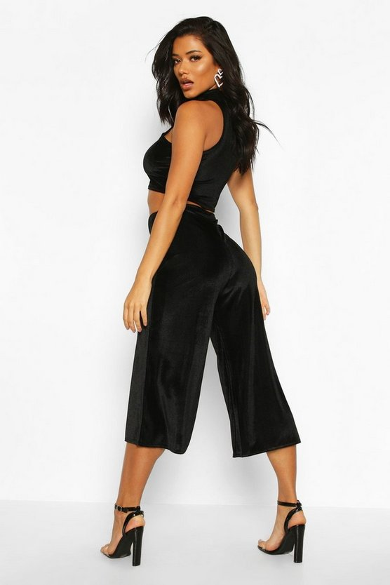 Velvet Rib High Neck Top And Culotte Co-Ord