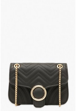 Black Mini Buckle Chevron Cross Body Bag
