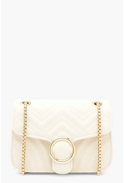 Nude Mini Buckle Chevron Cross Body