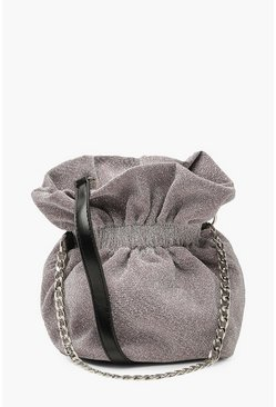 Baby pink Shimmer Mini Duffle Cross Body Bag With Chain