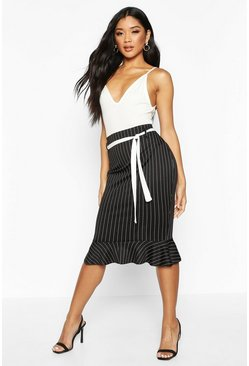 Womens Black Pinstripe Pencil Skirt With Sash Belt
