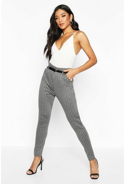 Womens Grey Pinstripe Trousers With Belt