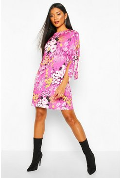 Womens Damson Floral Tie Sleeve Dress