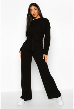 Womens Black Chunky Knitted Tie Front Set Trouser