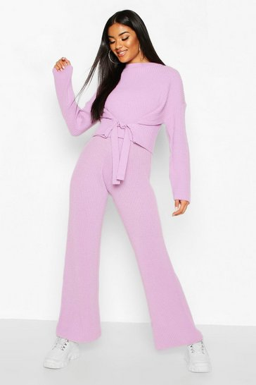 Lilac Chunky Knitted Tie Front Set Trouser