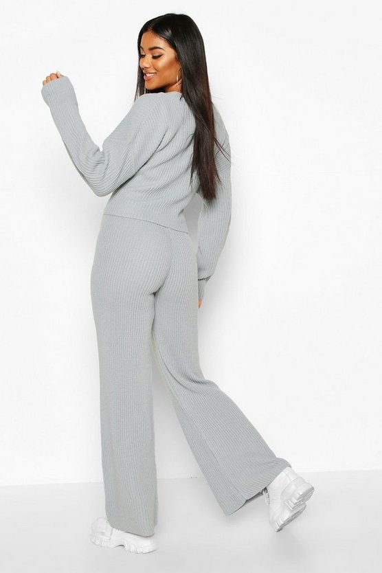 Chunky Knitted Tie Front Set Trouser