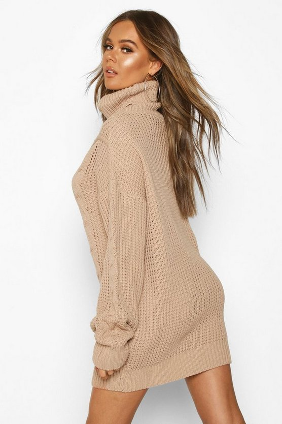 Oversized Roll Neck Cable Dress