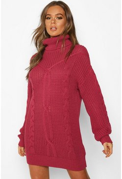Womens Raspberry Oversized Roll Neck Cable Dress