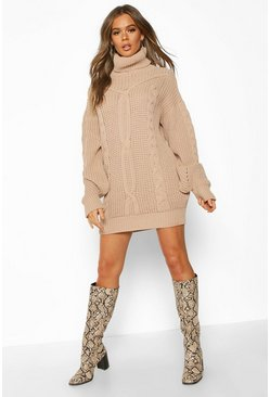Oversized Roll Neck Cable Dress, Stone