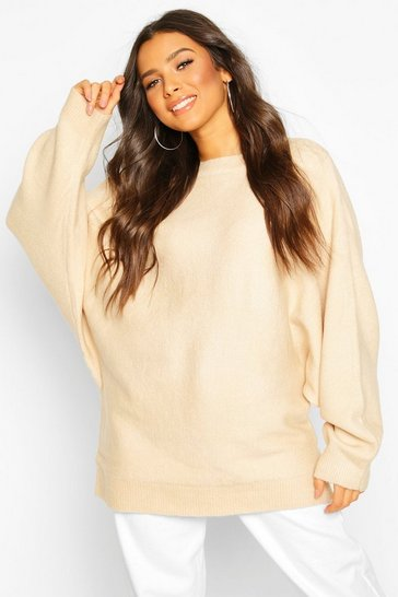 Womens Cream Oversized Batwing Knitted Jumper