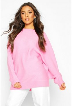 Womens Pink Oversized Batwing Knitted Jumper