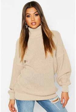 Womens Cream Two Stone Roll Neck Knitted Jumper