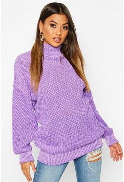 Womens Lilac Two Stone Roll Neck Knitted Jumper