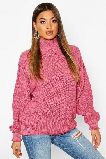 Womens Raspberry Two Stone Roll Neck Knitted Jumper