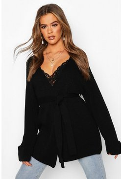 Womens Black Chunky Rib Knit Wrap Cardigan