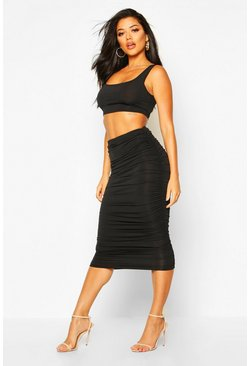 Womens Black Slinky Top And Ruched Midaxi Skirt Co-ord